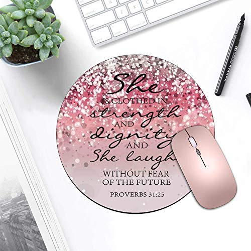 BWOOLL Round Mouse Pad and Coasters Set, Pink Glitter Mouse Pad, Christian Quote Bible Verse Proverbs 31:25 Design Mouse Pad, Non-Slip Rubber Base Mouse Pads for Laptop and Computer Photo #6