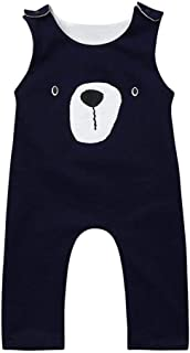 Mornyray Toddler Newborn Baby Romper Boy Girl Infant Rompers Jumpsuit Sleeveless Cotton Clothes Infant Bear Head Pattern One-pieces Outfit Fashion Solid Color Romper For Babys (0-24M)