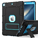 Rantice iPad 9th Generation Case, iPad 8th Generation Case, iPad 7th Generation Case, Hybrid Shockproof Rugged Drop Protection Cover with Kickstand for iPad 10.2'' 2021/2020/2019 Released (Black+Blue)