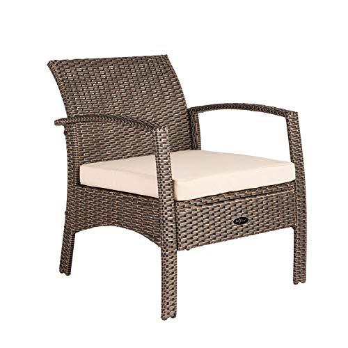 Patio Sense Bondi Wicker Outdoor Armchair Lounge Chair, Mocha