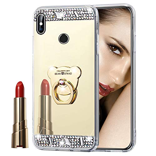 Glitzer Spiegel Hülle für Xiaomi Redmi S2 Gold, Misstars Bling Diamant Strass Überzug TPU Silikon Handyhülle Ultradünn Kratzfest Schutzhülle mit Bär Ring Ständer für Xiaomi Redmi S2