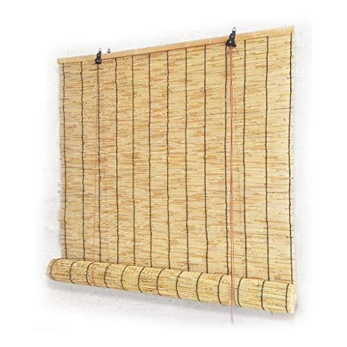 MJIA Cortina de caña Natural, persianas Romanas persianas de Rodillo de Ventana de lumbrera, Ventana de bambú Enrollable, Home Sunshade Light Filtering 70% de decoración de elevación Vertical