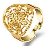 FLYUN Metatron Ring Metatron's Cube Rings for Men Women Amulet Protection Seals of Archangel Ring Jewelry Adjustable (Metatron Cube-Gold(1PC))