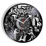 MASERTT Reloj de Pared Street Graffiti Hecho de Disco de Vinilo Real Pintura en Aerosol Segway LP Reloj de Pared Regalos para los jóvenes vigorosos, sin LED