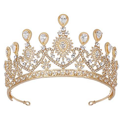 Coucoland Hochzeit Krone Barock Brautschmuck Kristall Tiara Retro Strass Diadem Abschlussball Geburtstagskrone Damen Festzug Fasching Kostüm Haare Accessoires (Gold)