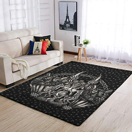 COMBON Shop Alfombra Vikingo Odin y su lobo antideslizante – Alfombra de suelo para dormitorio decorativo blanco2 91x152cm