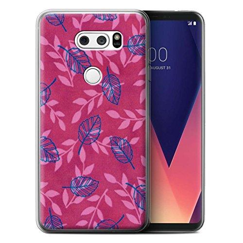 Stuff4 Var voor LG blad/tak patroon LG V30/V30+ Roze/Blauw