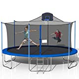 Tatub 16FT Trampoline for Kids, Outdoor Trampoline with Safety Enclosure Net Basketball Hoop and Ladder, Trampoline for Adults (Blue&Grey)