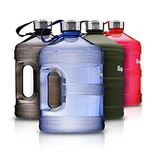 Supplify Gym Bottle Flasche BPA und DEHP freier Kunststoff - der Trend Wasserkanister ( Rot Transparent, 3,78 L)