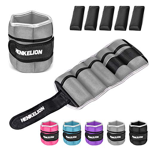 Henkelion 1 Pair 6 Lbs Adjustable Ankle Weights for Women Men Kids, Strength Training Wrist Weights Ankle Weights Set for Gym, Fitness Workout, Running, Lifting Exercise Leg Weights - Each 3 Lbs Grey