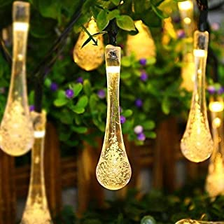ACEHOME Solar Outdoor String Lights, 20ft 30 LED Warm White Water Drop Solar String Fairy Waterproof Lights Christmas Lights Solar Powered String lights for Patio, Lawn, Christmas,Party (Warm White)