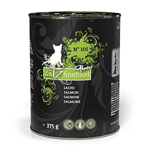 catz finefood Purrrr Lachs Monoprotein Katzenfutter nass N° 105, für ernährungssensible Katzen, 6 x 375 g