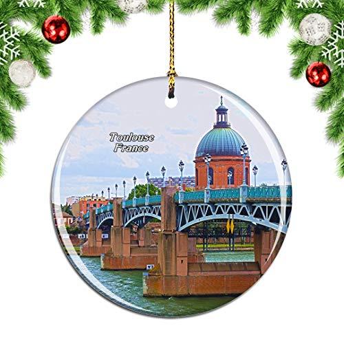 Weekino France Garonne Toulouse Décoration de noël Arbre de Noël Ornement Suspendu Pendentif Ville Voyage Collection Souvenirs Porcelaine 2.85 Pouce