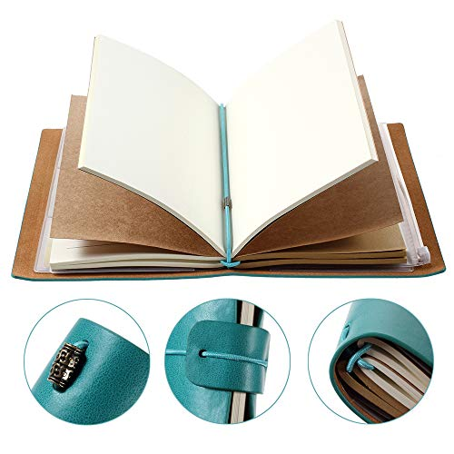 Leather Journal for Women, Refillable Travelers Notebook Vintage Journal for Women with Line Paper + 1 PVC Zipper Pocket + 18 Card Holder 4.7 X 7.9in (Blue)