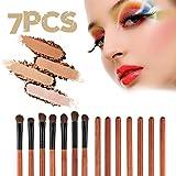 7 unids/set Pincel de sombra de ojos profesional Pinceles de maquillaje Herramientas de maquillaje de ojos Kit de conjunto cosmético Envío directo al por mayor - Rojo