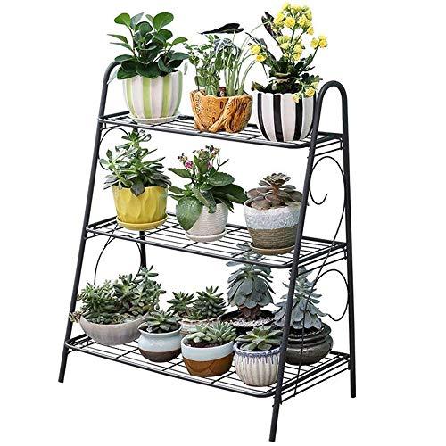 JSMY 3 Tier Indoor Plant Stand,Metal Plant Shelf,Planter Shelf Indoor Outdoor,Home Storage Organizer Shelf,Black(Size:B)