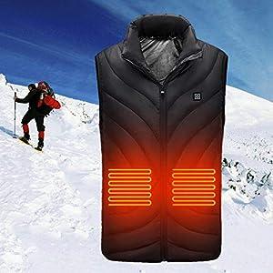 Chaleco Calefactor Recargable USB, Chaleco Eléctrico Calefactor USB Chaleco De Abrigo Cálido Chaleco Calefactor Chaqueta Calefactora Ropa Resistente Al Viento Cargador Chaleco Cálido Con Temperatura