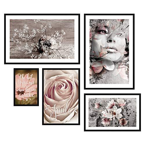 decomonkey | Poster 5er – Set mit schwarzem Rahmen schwarz-weiß Abstrakt Kunstdruck Wandbild Print Bilder Bilderrahmen Kunstposter Wandposter Posterset Porträt Blumen Retro Gesicht Strauß