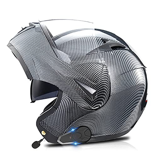 SJAPEX Bluetooth Integrado Modular Casco Moto Integral para Motocicleta,/FM/Doble Visera Anti Niebla HD Reducción de Ruido con Altavoz Incorporado para Adultos ECE 22-05 Aprobado A,M=57~58cm