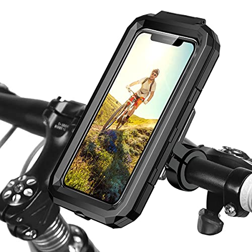 ENONEO Soporte Movil Moto Impermeable 360°Rotación Universal Soporte Movil Bicicleta con Pantalla Táctil Sensible Anti Vibración Soporte Telefono Bicicleta Montaña para 4.5-6.1' Móvil (Negro,S)