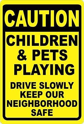 Metalen bord Voorzichtigheid Kinderen & Huisdieren Spelen Gebaren Drive Langzaam Houd Buurt Veilig Metaal Help Houd Onze Kinderen Veilig 12x16 inch