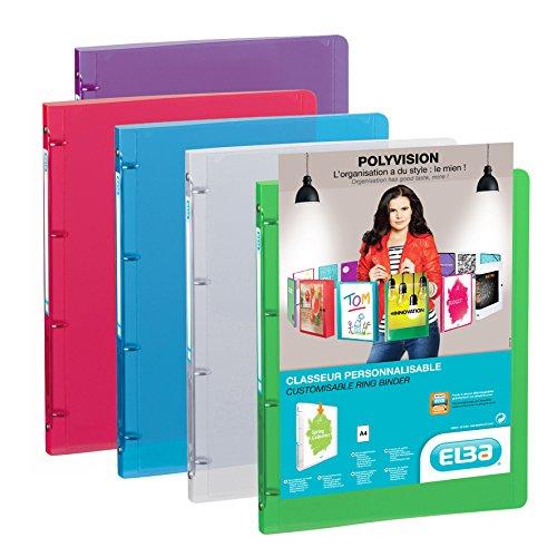 ELBA 100202273 Kunststoff-Ringbuch polyvision 12er Pack DIN A4 4 Ring-Mechanik 2 cm breit farbig sortiert Präsentations-Ordner Ring-Buch Hefter Plastikordner transparent
