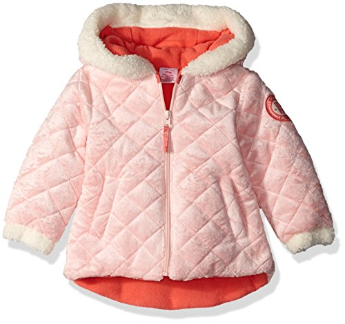 U.S. Polo Assn. Baby Girls' Floral Print Double Breasted Puffer Jacket, Peach Blossom, 18 Months