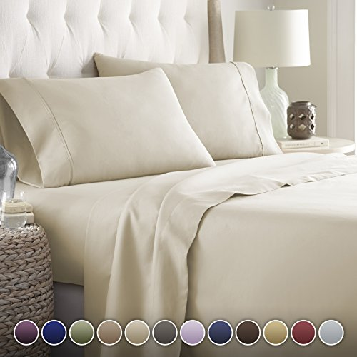 Hotel Luxury Bed Sheets Set 1800 Series Platinum Collection Softest Bedding, Deep Pocket,Wrinkle & Fade Resistant (King,Cream)