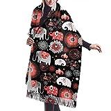 Bufanda con Flecos, tapicería, Accesorios de Vestidos, Manta, Hermosos Elefantes y Flores, Bufandas largas y cálidas, Abrigo de Pashmina, Estola