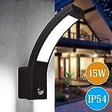 LED Aussenleuchten Bewegungsmelder Wand-leuchte Wandlampe Flurleuchte Fluter 15W schwarz modern IP54...