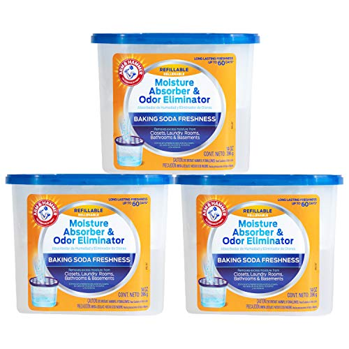 Arm & Hammer Fragrance Free Refillable Moisture Absorber and Odor Eliminator, 3 ct, 42 Ounces