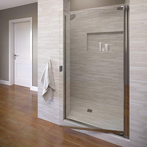 Basco Armon 32.75 to 34.25 in. width, Semi-Frameless Pivot Shower Door, Clear Glass, Silver Finish