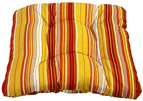 Polster Sitzkissen Sesselkissen orange gestreift ca. 38 x 38 cm