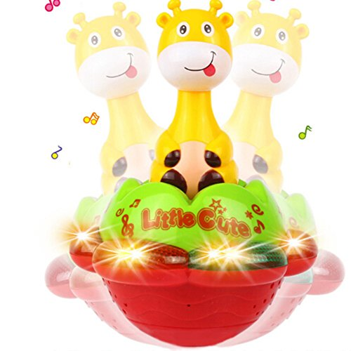 Dibujos animados Diseño de jirafa Tumbler juguete colorido música luz de proyección Roly Poly para bebé Niños Festival de regalo