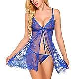 Luckycat 2*Piezas Conjunto de Lencería Pijama Semi Transparente de Verano sin Mangas Picardías Atractivas Floral Encaje+Braguita