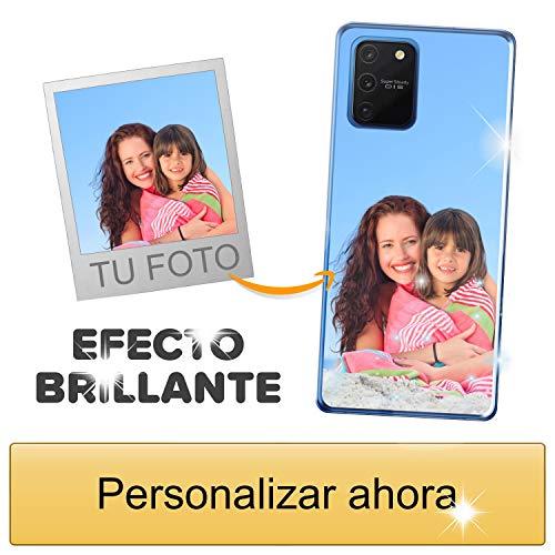 Funda móvil Personalizada con Efecto Brillante para Samsung Galaxy S10 Lite con Tu Foto, Imagen o Frase - Funda Blanda en TPU Gel Transparente - Impresión de máxima Calidad