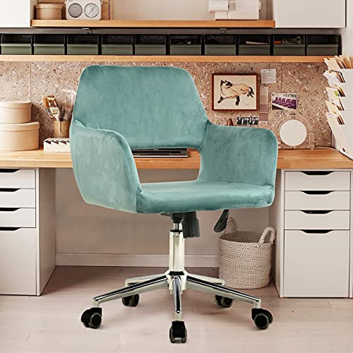 Modern Home Office Desk Chairs with Wheels and Arm - Comfy Swivel Ergonomic Desk Chair - Cute Velvet Task Chair with Hollow Mid Back - Adjustable Computer Chairs for Bedroom (Mint Green, 1 Chair)