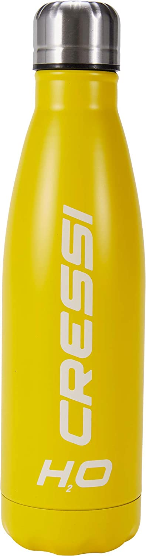 Cressi Water Bottle H20 Stainless Steel Botella Deportiva de Acero Inoxidable, Unisex Adulto, Amarillo, 500 ML
