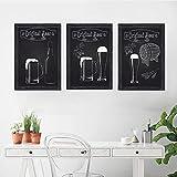 VCFHGVG Fondo Negro Taza de Cerveza Barril de Cerveza Lienzo Pintura Cartel Pared Arte Restaurante Cocina Arte decoración 40x60 cm x 3 sin Marco