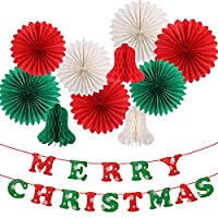 パーティーの装飾 クリスマス パーティー デコレーション用品キット ハンギング ティッシュ ペーパー ファン クリスマス ハニカム ベル メリー クリスマス バナー クリスマス