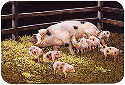 "Caroline's Treasures BDBA0296LCB""Pigs Piglets at Dinner Time"" Glass Cutting Board, Large, Multicolor"