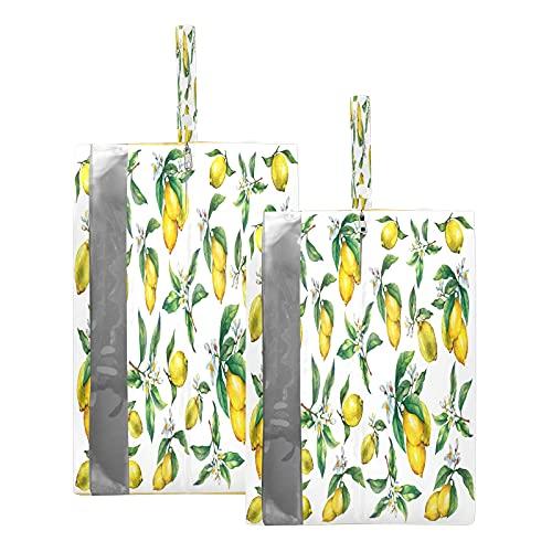 F17, borsa da viaggio per scarpe da viaggio, con fiori, foglie, limoni, frutta, scarpe, impermeabile, portatile, leggera, borsa per uomini e donne, 2 pezzi