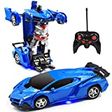 Jeestam RC Car Robot for Kids Transformation Car Toy, Remote Control Deformation Vehicle Model with One Button Transform 360°Rotating Drifting 1:18 Scale, Best Gift for Boys and Girls (Blue)
