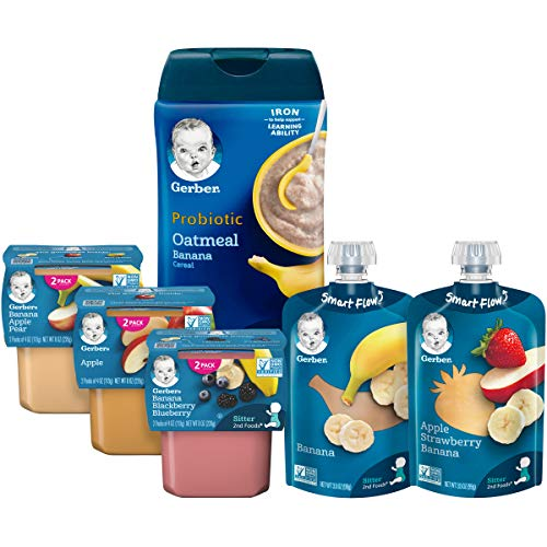 Gerber Purees 2nd Foods Pouches, Puree Tubs & Probiotic Cereal Assorted Variety Pack, 12 Count (Pack of 1)