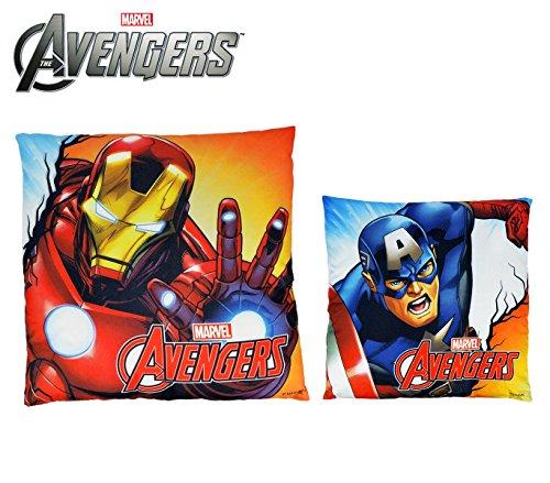 MEDIA WAVE store MV92345 Cuscino Decorativo Quadrato 40x40 cm Iron Man e Capitan America Marvel