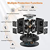 Extension Plug Tower, bedee Tower Extension Lead with Surge Protection, Power Strip Tower with Night Light, 3 USB Slots and 8 Way Outlets, 3M Extension Cord
