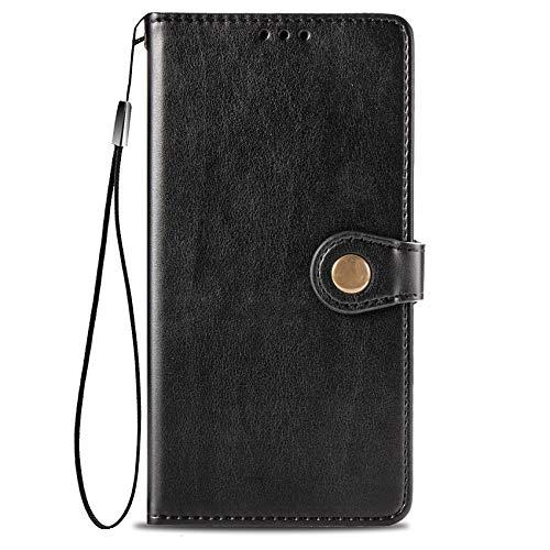 TOPOFU OnePlus 8T Hülle,Einfacher Stil Flip Lederhülle Einfarbig Retro Wallet Schutzhülle mit Magnetverschluss,Ständer Funktion Handyhülle für OnePlus 8T-Schwarz