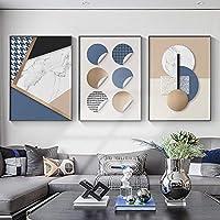 モダンブルー抽象的な幾何学的な壁アートパターン大理石のキャンバス絵画写真ポスターとプリントリビングルームの家の装飾(60x80cm)X3フレームレス