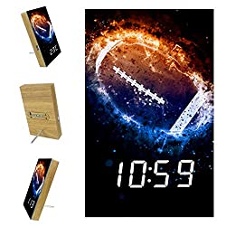 Digital Alarm Clock for Bedrooms Kitchen Office 3 Alarm Settings Radio Wood Desk Clocks - American Football Sport
