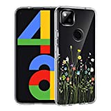 Unov Pixel 4a Case Clear with Design Soft TPU Shock Absorption Slim Embossed Pattern Protective Back Cover [Not for Pixel 4a 5G Case] 5.8 inch (Flower Bouquet)